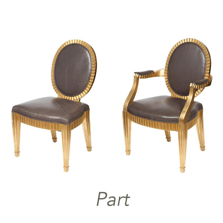 Wonderful Set 10 John Hutton Donghia Grey Leather Gold Gilt Grand Soleil Chairs In Good Condition In Roslyn, NY