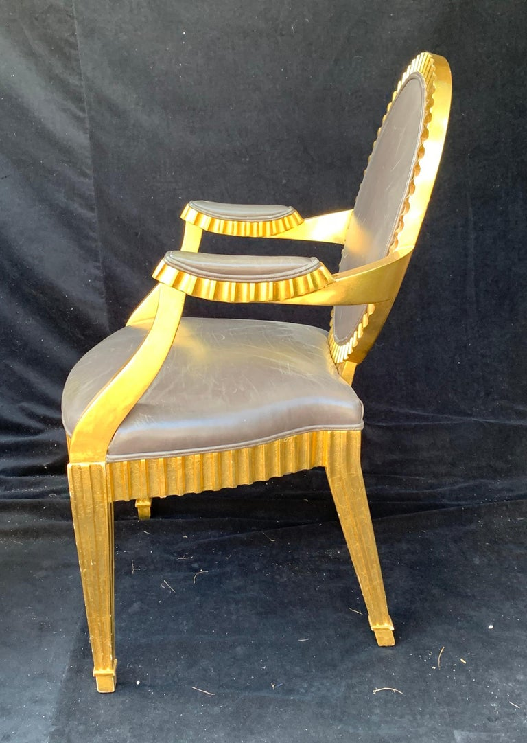 20th Century Wonderful Set 10 John Hutton Donghia Grey Leather Gold Gilt Grand Soleil Chairs For Sale