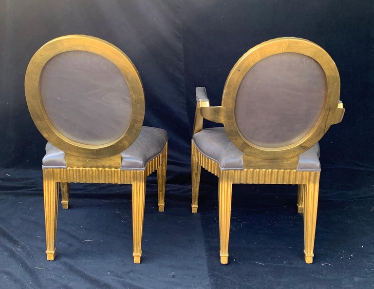 Wood Wonderful Set 10 John Hutton Donghia Grey Leather Gold Gilt Grand Soleil Chairs For Sale