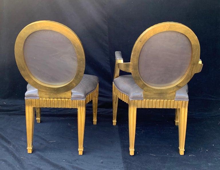 Wood Wonderful Set 10 John Hutton Donghia Grey Leather Gold Gilt Grand Soleil Chairs