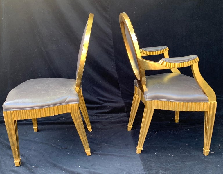 Wonderful Set 10 John Hutton Donghia Grey Leather Gold Gilt Grand Soleil Chairs For Sale 1