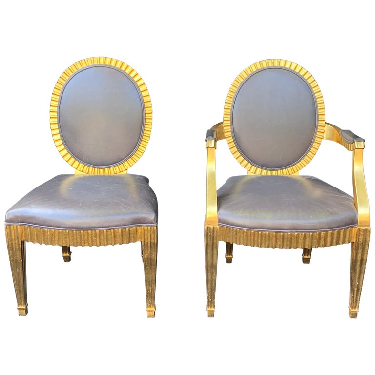 Wonderful Set 10 John Hutton Donghia Grey Leather Gold Gilt Grand Soleil Chairs For Sale