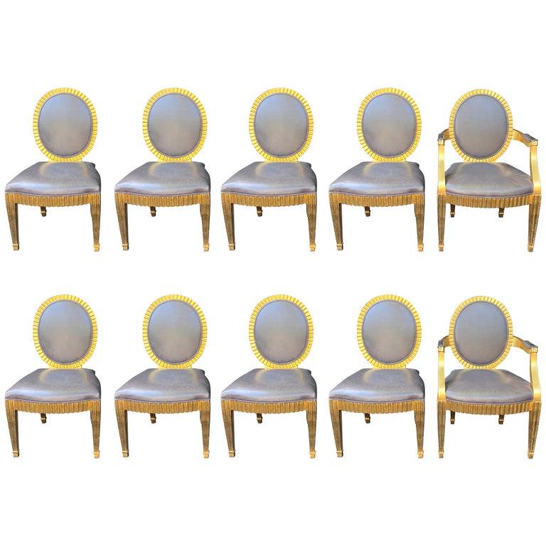 Wonderful Set 10 John Hutton Donghia Grey Leather Gold Gilt Grand Soleil Chairs