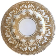 Wonderful Set 12 Service Dinner Plates Royal Worcester Gold White Ornate Dishes
