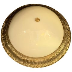 Wonderful Set 3 French Bronze Milk Glass Dome Flush Mount Light Fixtures