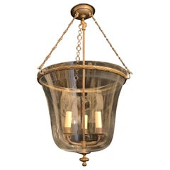 Wonderful Large Vaughan Glass Bell Jar Lantern Fixture Bronze Ribbon Reed