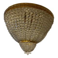 Set of 4 Beaded Crystal Basket Flush Mount Brass Ceiling Light Fixtures