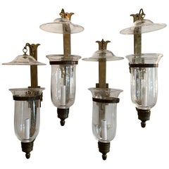 Wonderful Set 4 English Regency Bronze Hurricane Glass Bellow Lantern Sconces