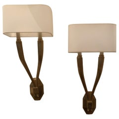 Wonderful Set 6 Modern Ruhlmann Double Arm Bronze Wall Sconce Visual Comfort