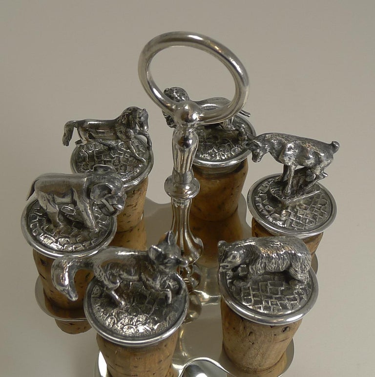 Wonderful Set Austrian Silver Plated Figural Wine/Bottle Corks, circa 1920 In Good Condition For Sale In London, GB