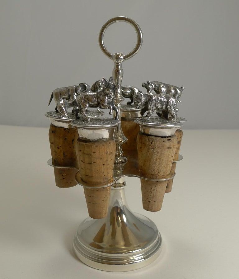 Wonderful Set Austrian Silver Plated Figural Wine/Bottle Corks, circa 1920 For Sale 5