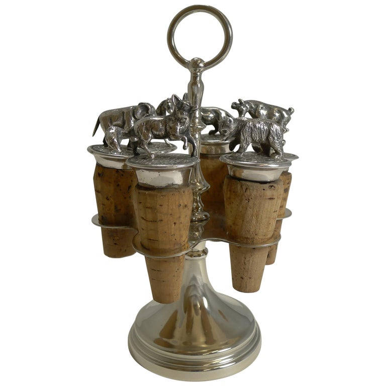 Wonderful Set Austrian Silver Plated Figural Wine/Bottle Corks, circa 1920 For Sale