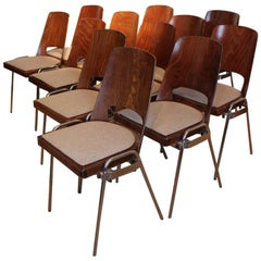 Wonderful Set of 12 Mid-20th Century Dining Chairs