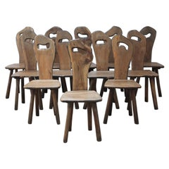 Wonderful Set of 12 Olive Wood French Chairs