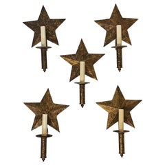 Wonderful Set of 5 Star Form Tole Gold Gilt Wall Rewired Sconces Sold Separately