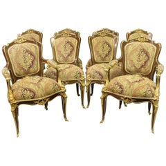Wonderful Set of Eight Gilt Bronze Mounted Dining Chairs after François Linke