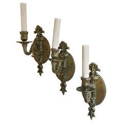 Wonderful Set Three French Silver Single Light Torchiere Filigree Bronze Sconces