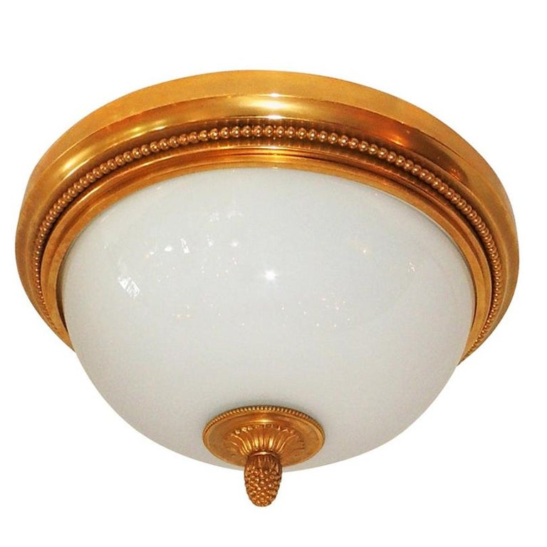 Wonderful Sherle Wagner Dore Bronze White Dome Glass Flush Mount Fixture For Sale