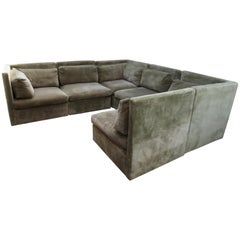 Spectacular Milo Baughman Style Eight Piece Sectional Sofa Sleeper