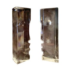 Wonderful Signed Pair of Baccarat Rigot Crystal Face Figures Man and Woman