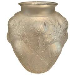 Wonderful Signed René Lalique Domremy Art Glass Flower Vase Marcilhac No. 979
