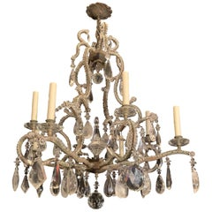Wonderful Silver Gilt Bagues Rock Crystal Beaded Large Jansen Chandelier Fixture