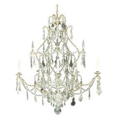 Wonderful Silver Gilt Bagues Rock Crystal Swag Large Jansen Chandelier Fixture