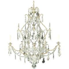 Wonderful Silver Gilt Baguès Rock Crystal Swag Large Jansen Chandelier Fixture