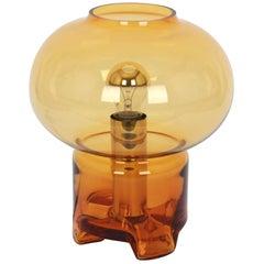 Wonderful Smoke Glass Mushroom Table Lamp by Limburg, Germany, 1970