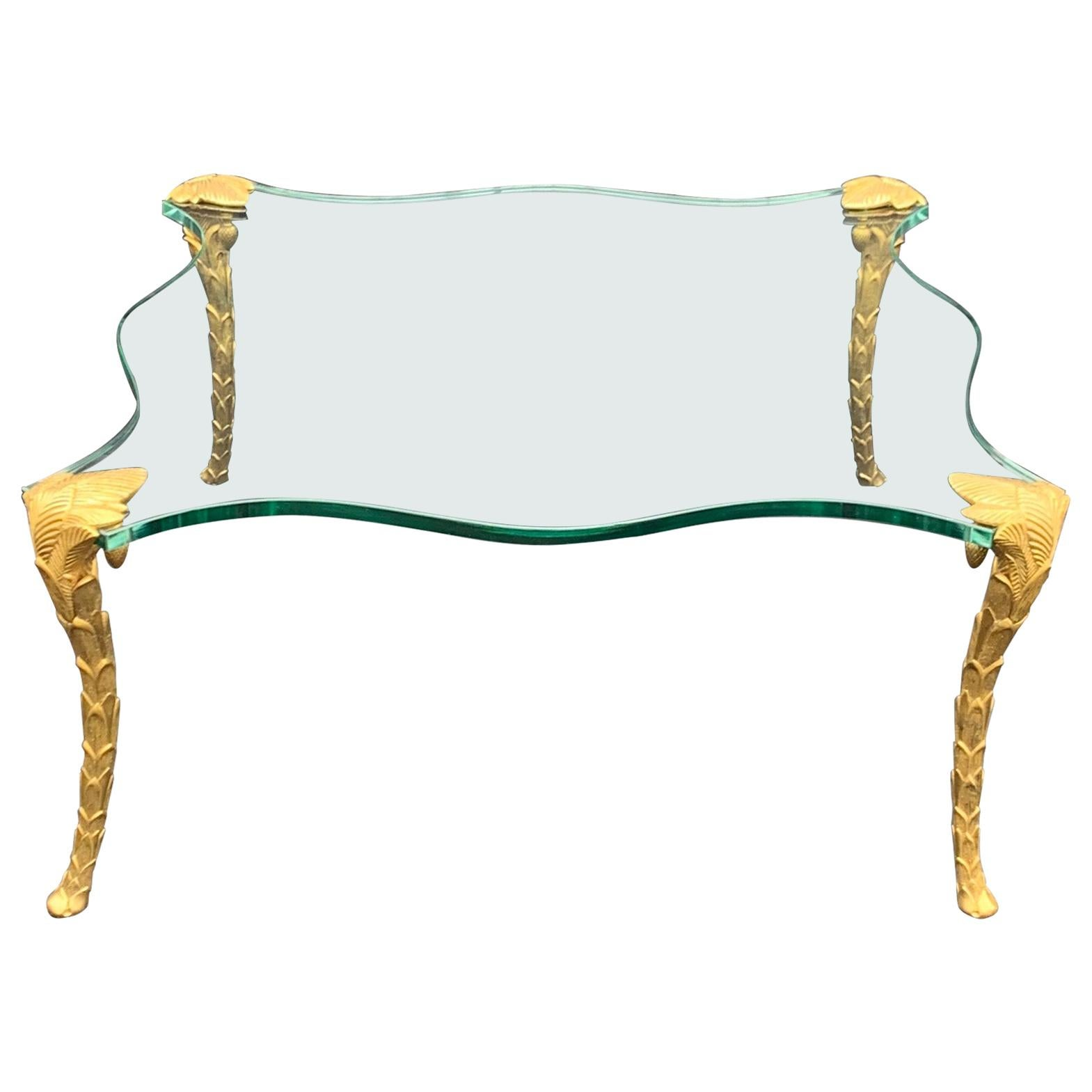 Wonderful Square Glass Palm Tree Leaf Form Gilt Bronze Guerin Coffee Table