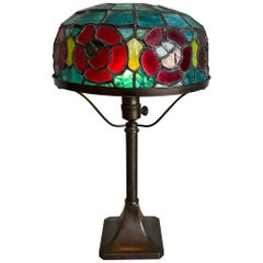 Wonderful Stain Leaded Art Deco Glass Table Lamp Geometric Design & Great Colors