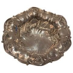 Wonderful Sterling Silver Art Nouveau Centerpiece Bowl with Pierced Swirl Border