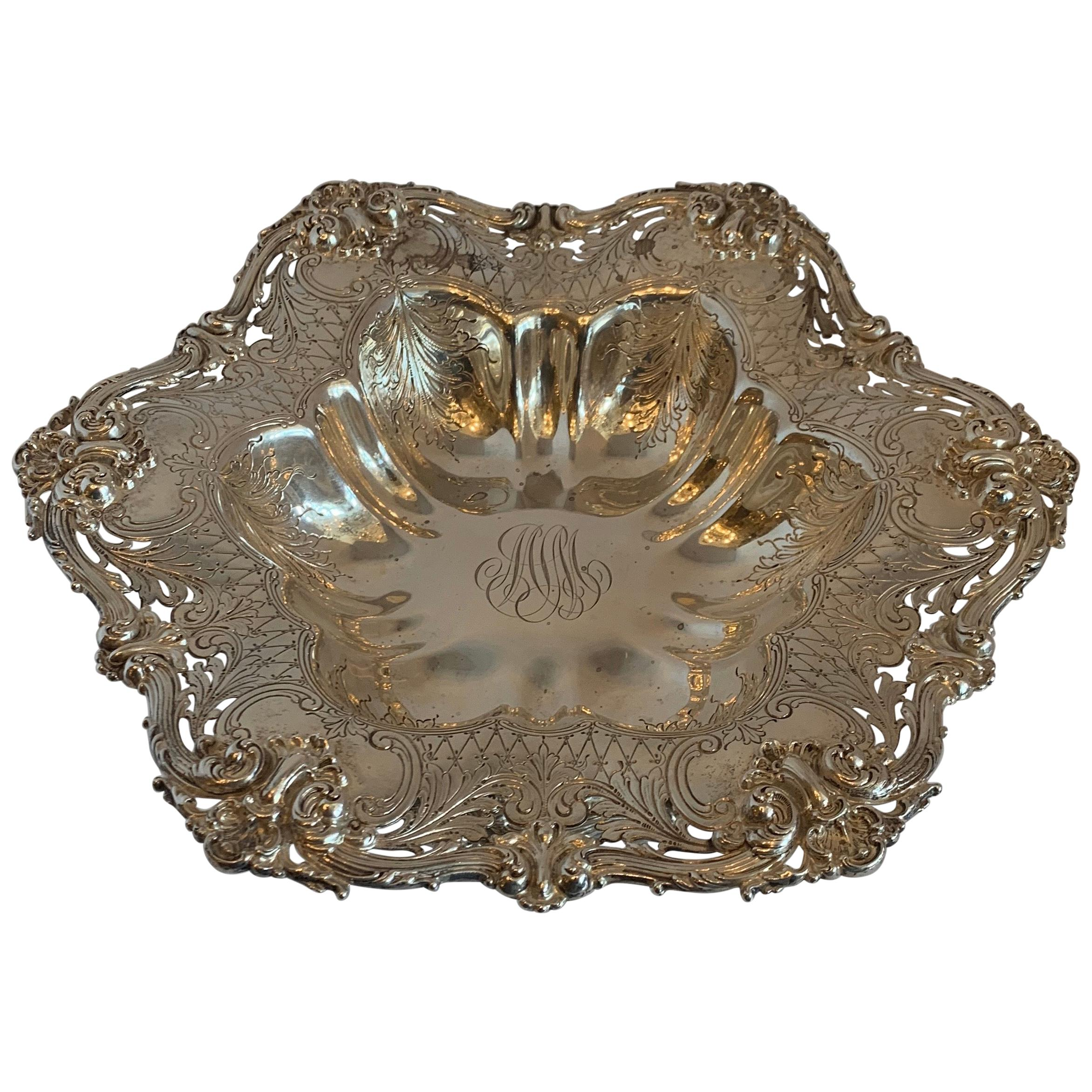 Wonderful Sterling Silver Whiting Pierced Reposse Hand Chased Centerpiece Bowl
