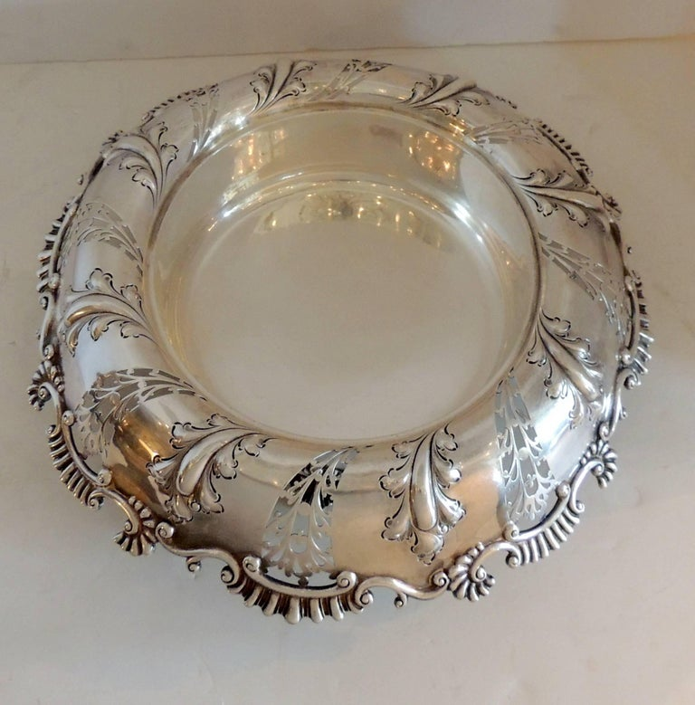Belle Époque Wonderful Theodore B. Star Sterling Silver Pierced Footed Centrepiece Bowl For Sale