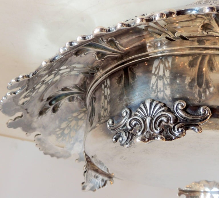 Mid-20th Century Wonderful Theodore B. Star Sterling Silver Pierced Footed Centrepiece Bowl For Sale