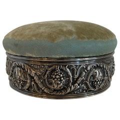 Wonderful Tiffany & Co. Silver Plated Pin Cushion Sewing Box