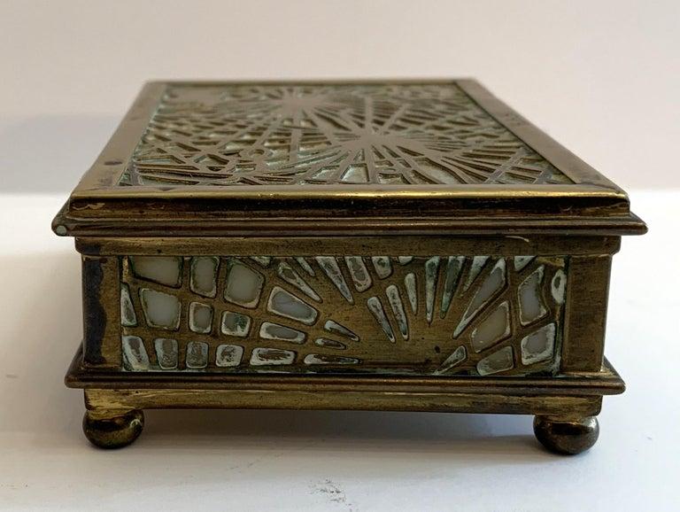 "20th Century Wonderful Tiffany Studios New York ""Pine Needle"" Slag Glass Bronze Box Ball Feet For Sale"