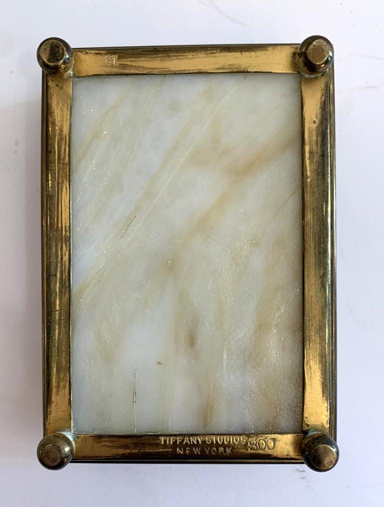 "Wonderful Tiffany Studios New York ""Pine Needle"" Slag Glass Bronze Box Ball Feet For Sale 4"