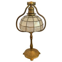 Wonderful Tiffany Studios New York Zodiac Bronze Lamp with Capiz Shell Shade