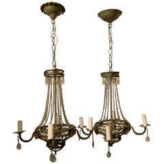 Wonderful Tole Gilt Green Patinated Vintage Beaded Basket Chandeliers Fixtures