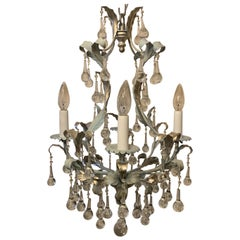 Wonderful Tole Hand Painted Blue Silver Leaf Crystal Petite Chandelier Fixture