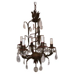 Wonderful Tole Rock Crystal Bagues Red Trim 6-Light Petite Chandelier Fixture