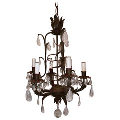 Wonderful Tole Rock Crystal Baguès Red Trim 6-Light Petite Chandelier Fixture