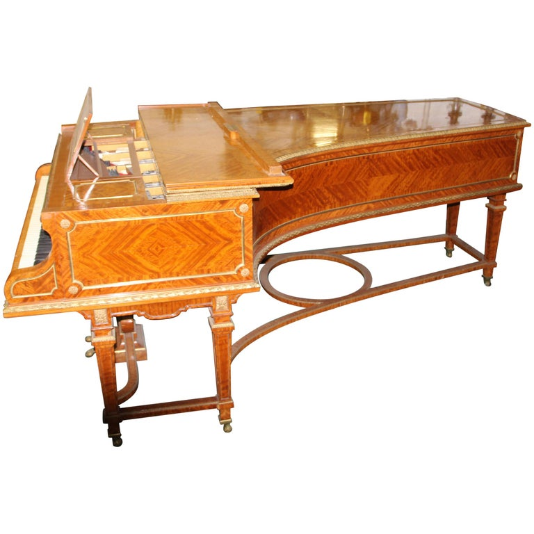 Wonderful Turn of the Century Gilt Bronze Mounted Six-Leg Grand Erard Piano For Sale