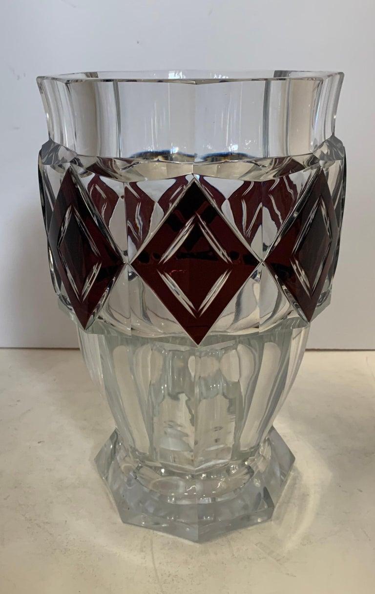 A wonderful Val Saint Lambert amethyst diamond overlay art glass / crystal Kipling large vase unsigned. Measures: 11 1/2