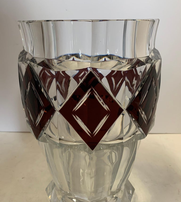 Belle Époque Wonderful Val Saint Lambert Amethyst Diamond Overlay Glass Crystal Kipling Vase For Sale