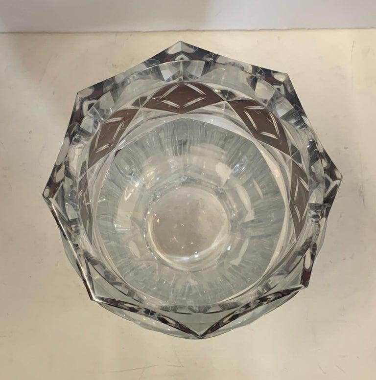 Belgian Wonderful Val Saint Lambert Amethyst Diamond Overlay Glass Crystal Kipling Vase For Sale