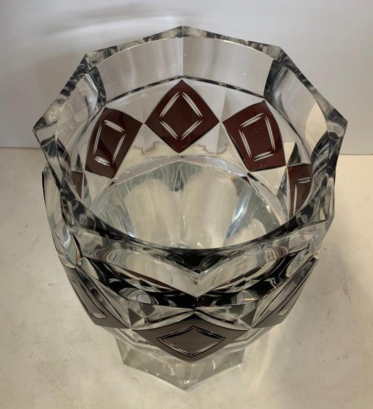 Wonderful Val Saint Lambert Amethyst Diamond Overlay Glass Crystal Kipling Vase For Sale 1