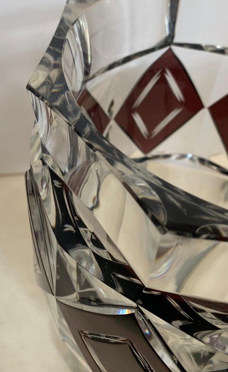 Wonderful Val Saint Lambert Amethyst Diamond Overlay Glass Crystal Kipling Vase For Sale 2