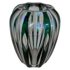 Wonderful Val Saint Lambert Emerald Green Cut to Clear Crystal Bud Vase